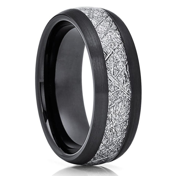 Black Tungsten Ring Meteorite Wedding Band Meteorite