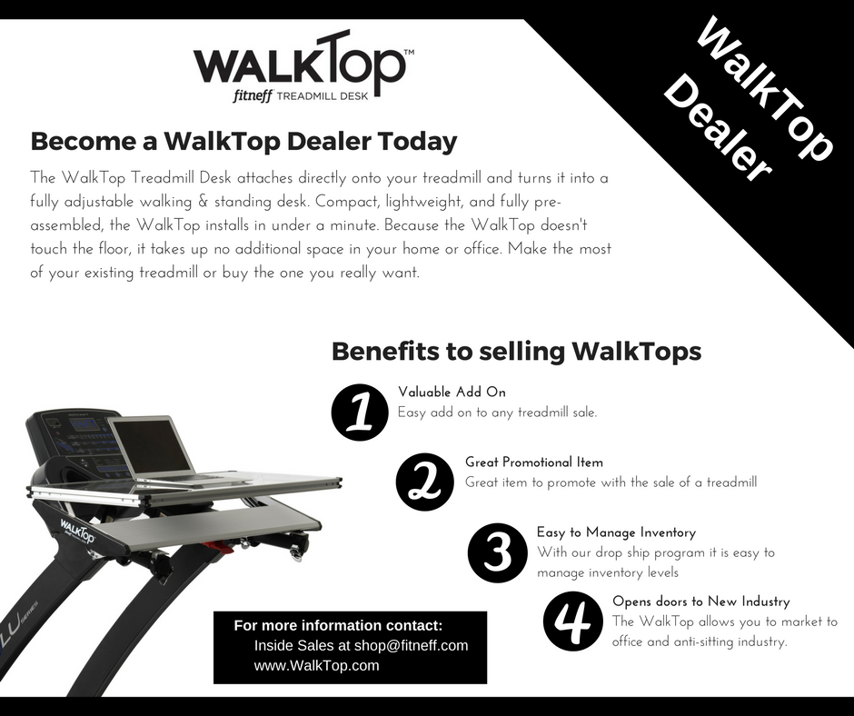 Fitneff offers dealer drop shipping services for approved dealers for the WalkTop Treadmill Desk.  The WalkTop is a fully adjustable walking & standing desk.