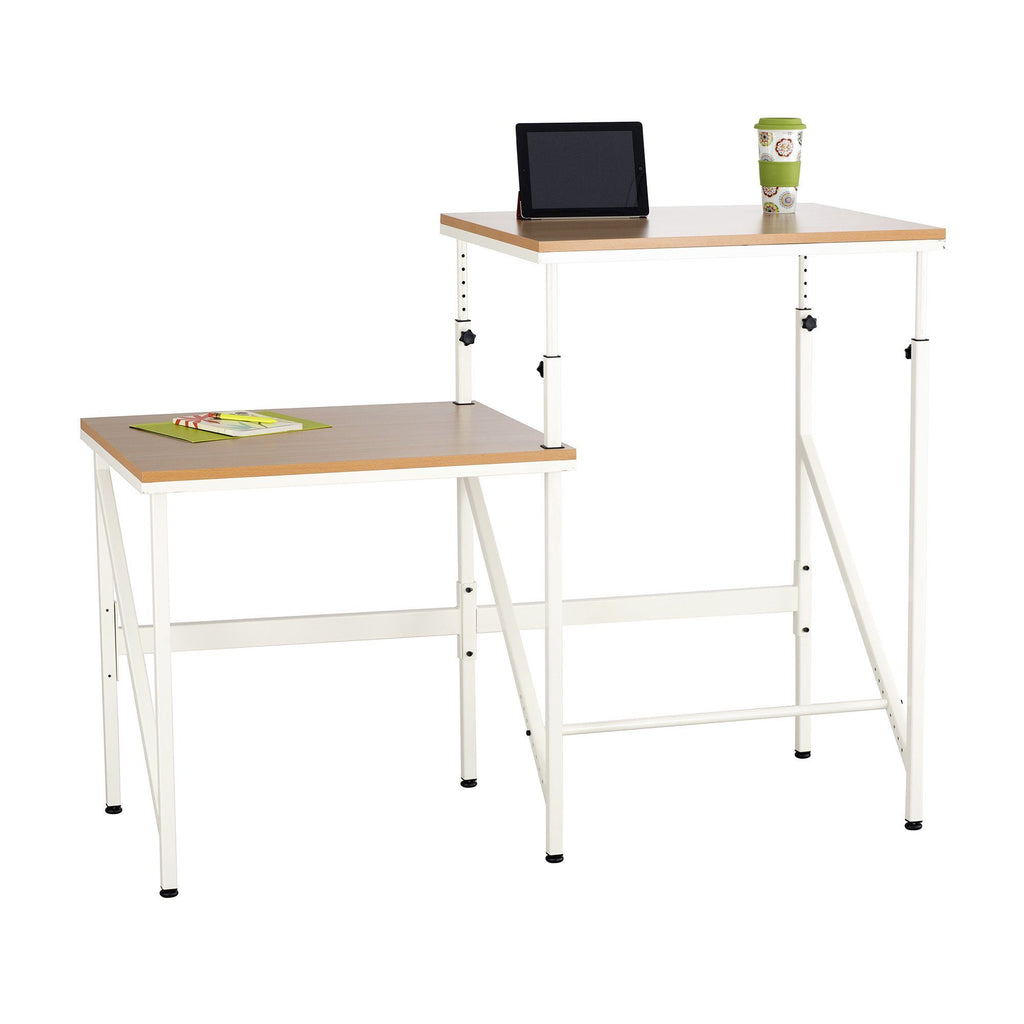 Safco Elevate™ Bi-Level Desk Beech and White Sit Stand Desk Office by Fitneff United States