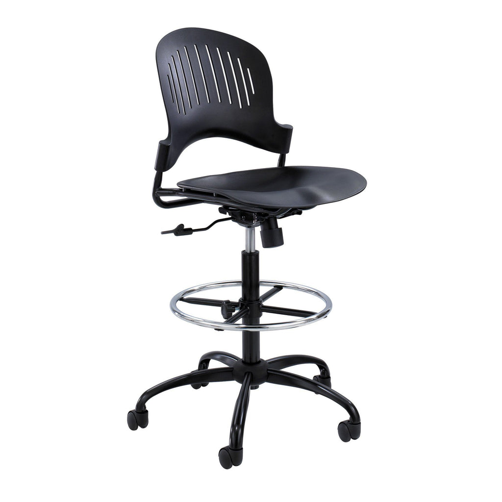 Safco Zippi™ Plastic Extended-Height Chair Model # 3386BL Side View Black by Fitneff United States