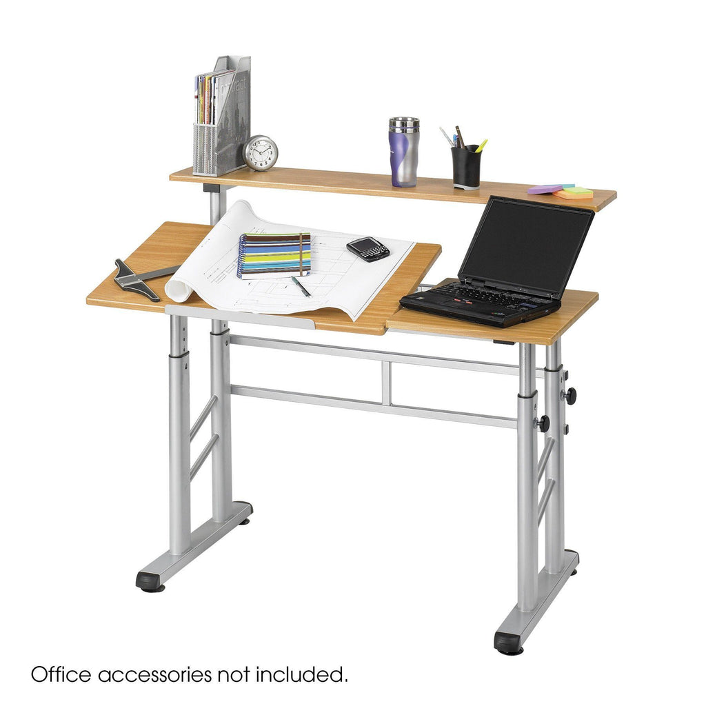 Safco Height-Adjustable Split Level Drafting Table Model # 3965MO Product View Drafting Desk Computer 2