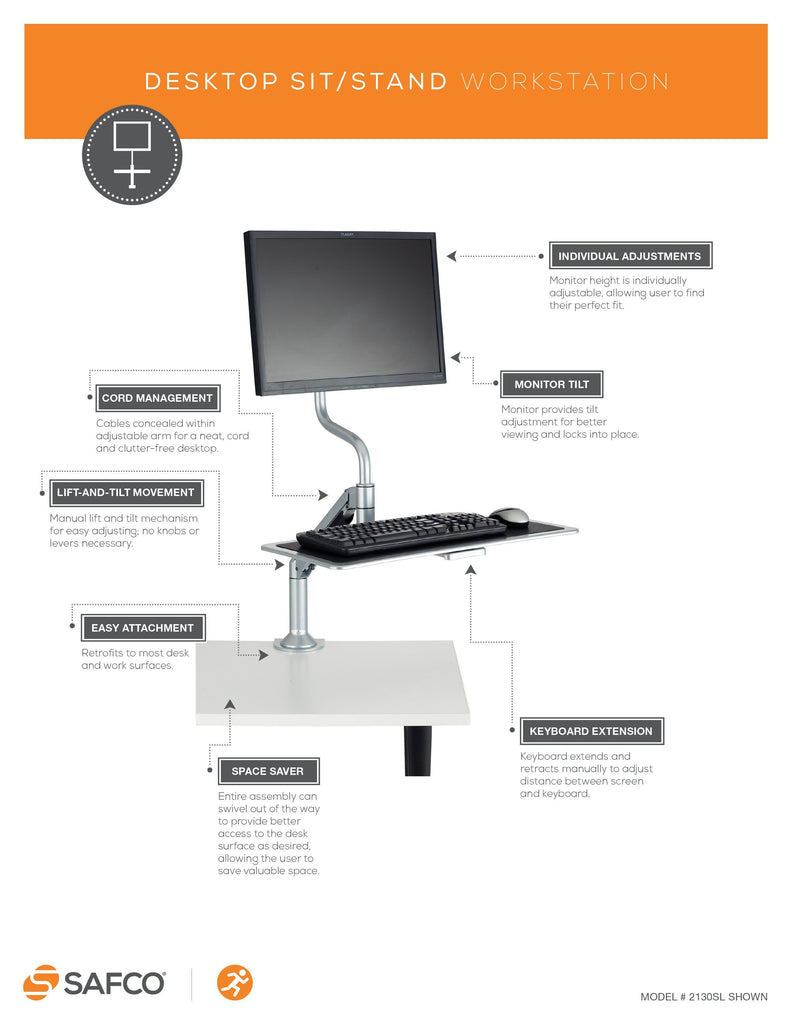 Safco Desktop height-adjustable workstation Fitneff United States