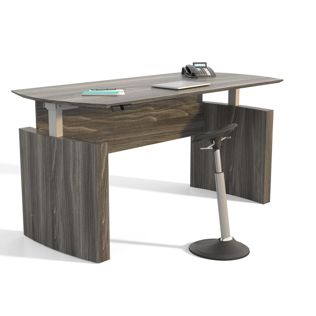 "Medina™ Height-Adjustable 72"" Curved Front Desk Steel Grey Model # MNDHA72LGS by Fitneff United States"