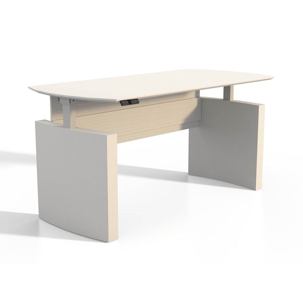 "Medina™ Height-Adjustable 72"" Curved Front Desk Model # MNDHA72TSS by Fitneff United States"