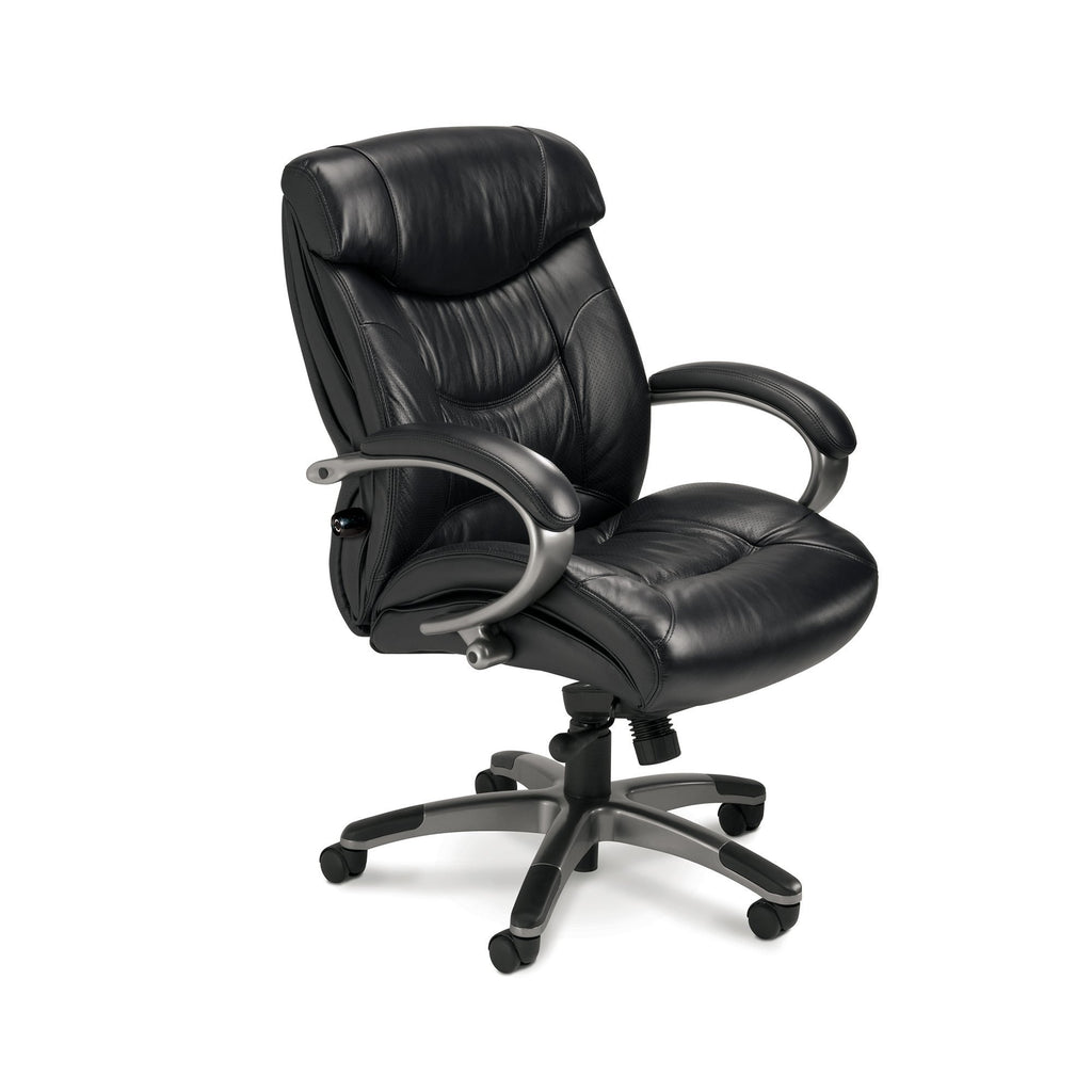 Safco Ultimo™ 200 Series Mid-Back Leather Chair Model # UL230MBLK Black Leather Executive Chair Ergonomic  by Fitneff United States