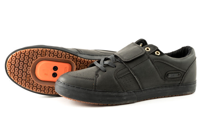 Dice Black Clipless Bike Shoe | DZRshoes - bottom and side view