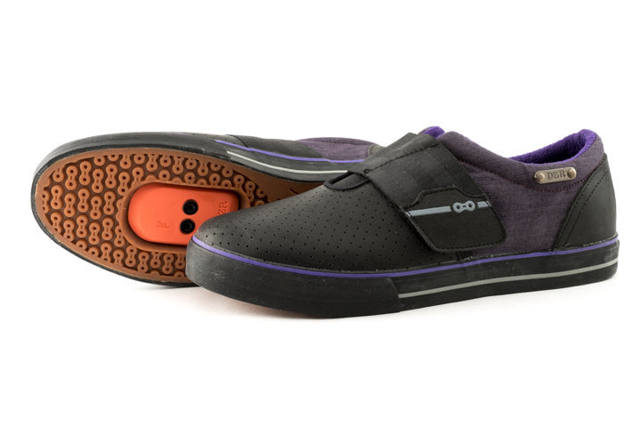 Purp Clipless Bike Shoe | DZRshoes - bottom and side view