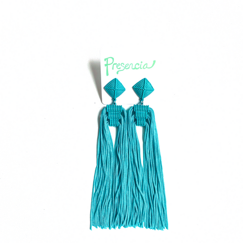 Lucìa Teal Tassel Earrings