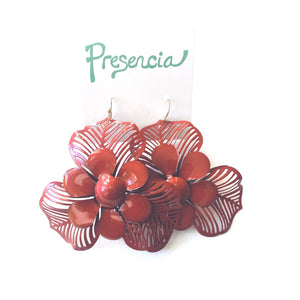 Victoria Flower Earrings in Red
