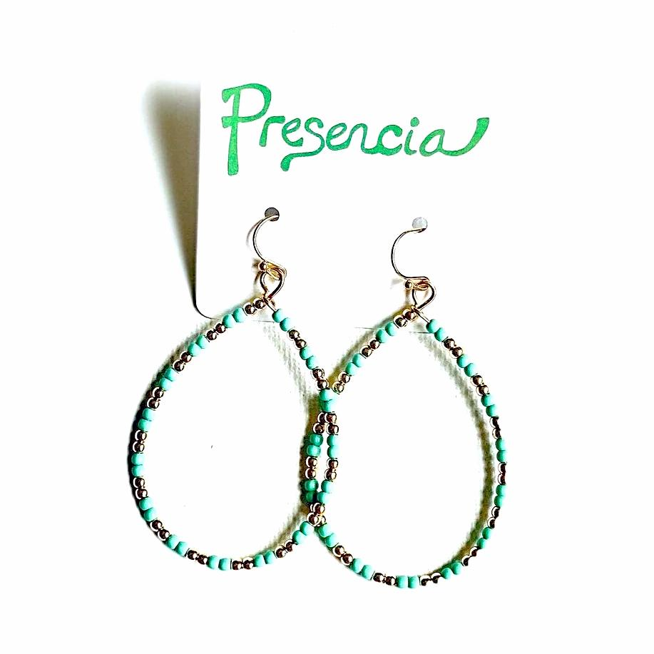 Teal and Gold Dainty Teardrop Earrings