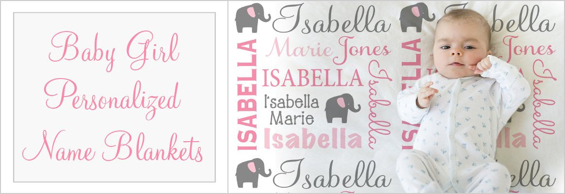 Baby Girl Personalized Blankets Elephant Blanket Example
