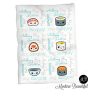 Cute kawaii sushi baby name blanket, aqua and gray, sushi baby blanket baby swaddling blankets, baby girl or boy, baby name blanket, baby shower gift, (CHOOSE COLORS)