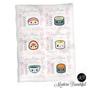 Cute kawaii sushi baby name blanket, pink and gray sushi swaddling blankets, baby girl kawaii blanket, sushi name blanket, sushi baby shower gift, (CHOOSE COLORS)