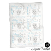 Sugar Skull Name Blanket in blue and gray for boy, skull personalized baby gift, baby boy blanket, blanket, personalized blanket, photo prop, choose colors