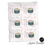 Girl pink and gray sushi roll baby name blanket, pink and gray sushi swaddling blankets, baby girl kawaii blanket, sushi name blanket, sushi baby shower gift, (CHOOSE COLORS)