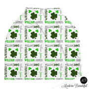 Shamrock baby boy or girl car seat canopy cover, clover baby gift, green and white, custom infant car seat cover, personalized baby name carseat cover, nursing privacy cover, shopping cart cover, high chair cover (CHOOSE COLORS)