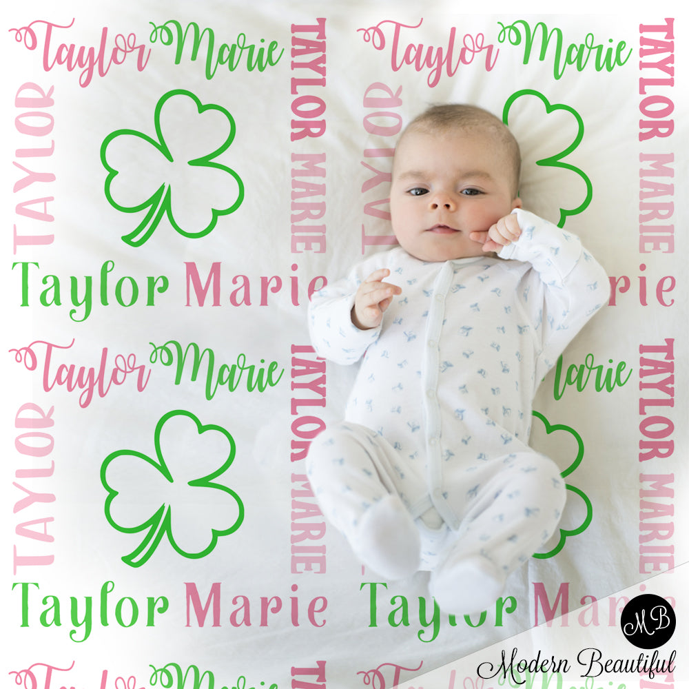 Girl pink shamrock clover baby name blanket, shamrock blanket, clover baby blanket, baby swaddling blankets, baby girl or boy, baby name blanket, baby shower gift, personalized baby name blanket(CHOOSE COLORS)