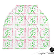 Baby girl shamrock baby boy or girl car seat canopy cover, clover baby gift, pink, green and white, custom infant car seat cover, personalized baby name carseat cover, nursing privacy cover, shopping cart cover, high chair cover (CHOOSE COLORS)