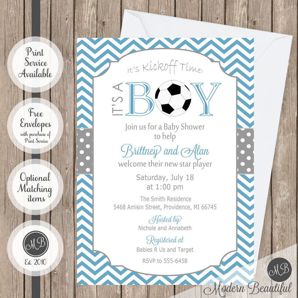 Blue and gray soccer baby shower invitation, baby boy soccer shower ...