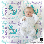 Nautical anchor name blanket in teal and purple