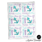 Nautical anchor name blanket in teal and purple, personalized girl anchor baby blanket, boy or girl name blanket, personalized name blanket, baby shower gift (CHOOSE COLORS)