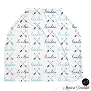 Boho arrow baby boy or girl car seat canopy cover, arrow baby gift, blue and gray, custom infant car seat cover, personalized baby name carseat cover, nursing privacy cover, shopping cart cover, high chair cover (CHOOSE COLORS)
