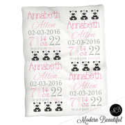 Panda bear baby girl stats blanket, pink and gray, panda girl baby blanket, personalized panda bear baby blanket, baby stats blanket, boy or girl stats swaddle blanket, baby shower gift, choose colors