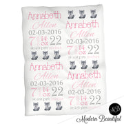 Wolf baby girl stats blanket, pink and gray, wolf girl baby blanket, personalized wolf baby blanket, baby stats blanket, boy or girl stats swaddle blanket, baby shower gift, choose colors