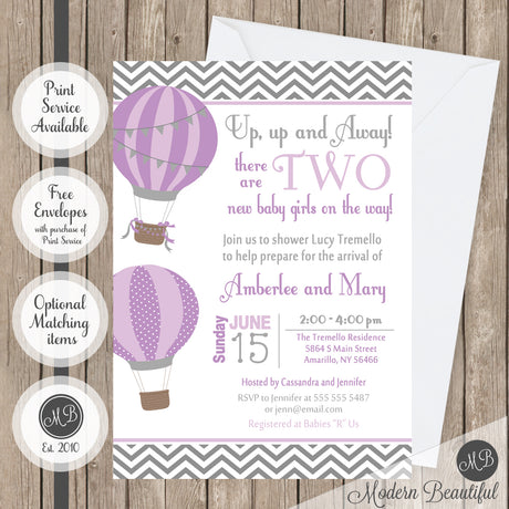 twin hot air balloon baby shower invitation