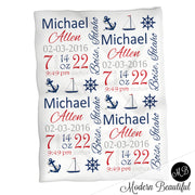 Nautical baby boy stats blanket, blue and red, anchor boy baby blanket, personalized nautical baby blanket, baby stats blanket, boy or girl stats swaddle blanket, baby shower gift, choose colors