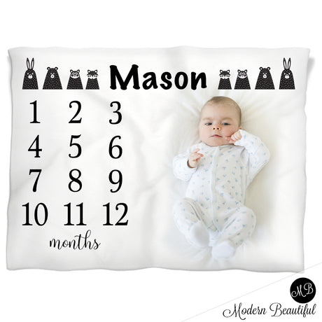 Black and white woodland animals monthly milestone blanket, personalized growth baby gift, personalized photo prop blanket - choose your colors