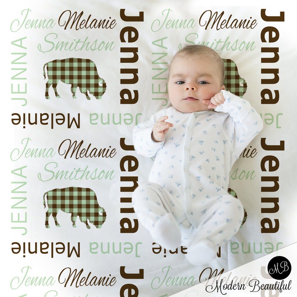 Buffalo baby girl name blanket