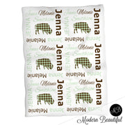 Buffalo baby girl name blanket, mint and brown, buffalo baby blanket, baby swaddling blankets, boy or girl blanket, baby shower gift, (CHOOSE COLORS