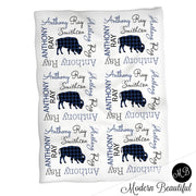 Buffalo baby name blanket, navy and black, buffalo baby blanket, baby swaddling blankets, baby girl or boy, baby name blanket, baby shower gift, (CHOOSE COLORS)