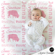 baby girl plaid buffalo blanket