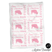 Baby girl plaid buffalo name blanket, pink buffalo swaddling blankets, plaid blanket, pink buffalo blanket, buffalo baby shower gift, (CHOOSE COLORS)