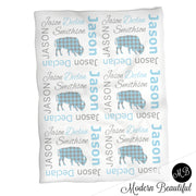 Buffalo baby name blanket, blue and gray, buffalo baby blanket, baby swaddling blankets, baby girl or boy, baby name blanket, baby shower gift, (CHOOSE COLORS)