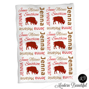 Buffalo baby girl name blanket, pink buffalo swaddling blankets, plaid blanket, buffalo blanket, buffalo baby shower gift, (CHOOSE COLORS