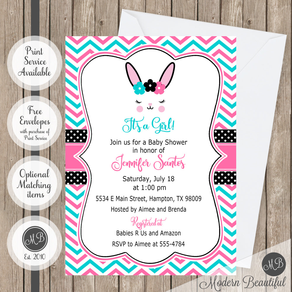 Pink, blue and blanket bunny baby shower invitation, girl bunny ...