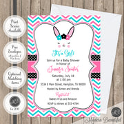 bunny rabbit lashes baby shower invitations