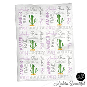 Baby girl cactus name blanket, purple and gray cactus swaddling blankets, baby girl cactus blanket, cactus desert blanket, cactus baby shower gift, (CHOOSE COLORS)