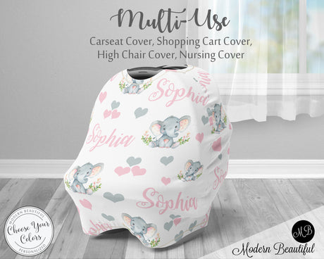 Elephant baby girl car seat canopy cover, elephant baby gift, pink and gray elephant custom infant car seat cover, personalized baby name carseat cover, nursing privacy cover, shopping cart cover, high chair cover (CHOOSE COLORS)