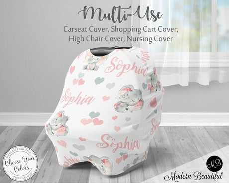 Chic elephant baby girl car seat canopy cover, elephant baby gift, pink and gray elephant custom infant car seat cover, personalized baby name carseat cover, nursing privacy cover, shopping cart cover, high chair cover (CHOOSE COLORS)