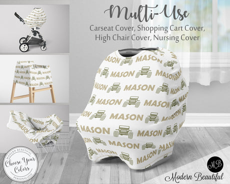 Jeep 4x4 baby boy or girl car seat canopy cover, jeep baby gift, green and white, custom infant car seat cover, personalized baby name carseat cover, nursing privacy cover, shopping cart cover, high chair cover (CHOOSE COLORS)
