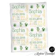 Cactus baby girl stats blanket, green and yellow, cactus girl baby blanket, personalized cactus baby blanket, baby stats blanket, boy or girl stats swaddle blanket, baby shower gift, choose colors