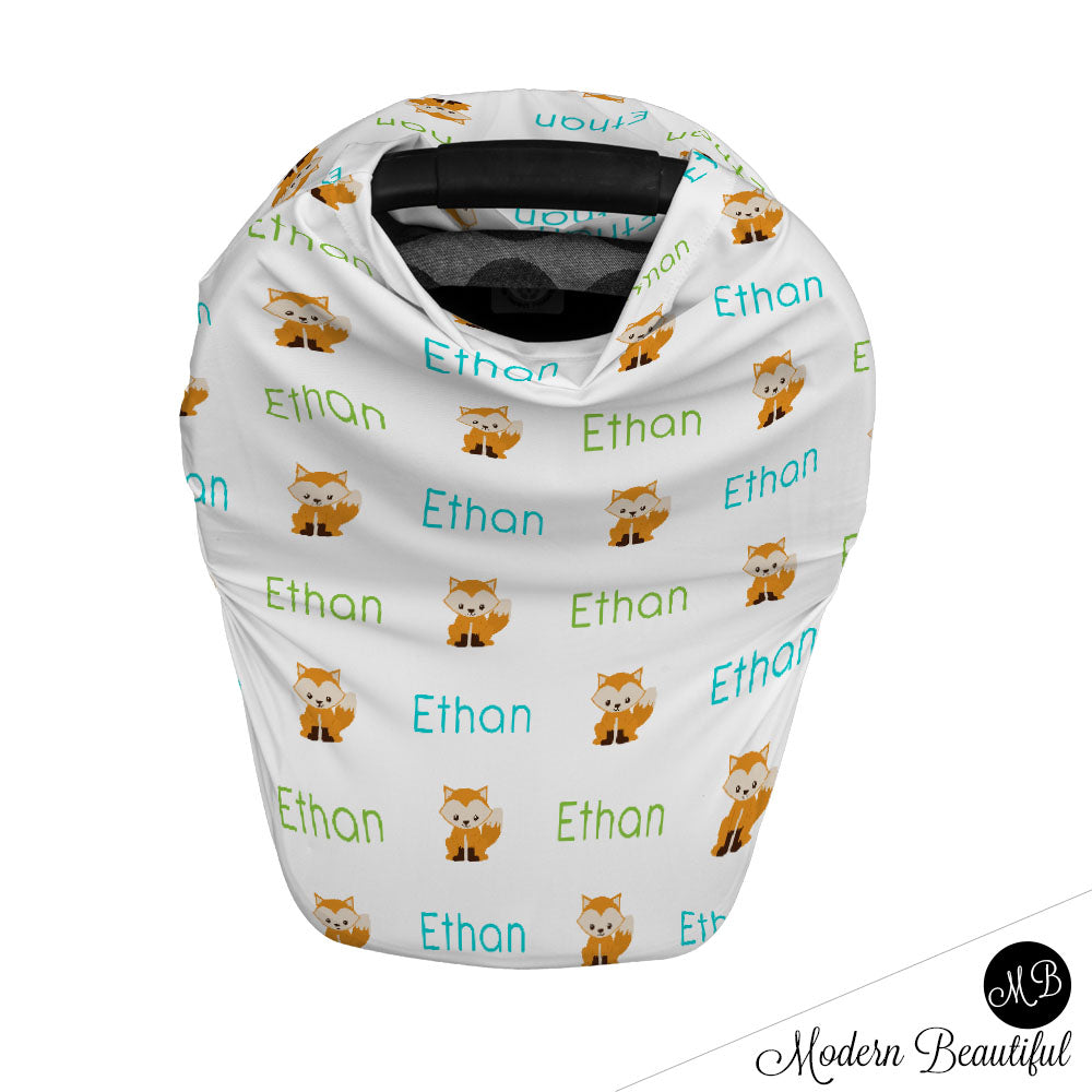 Fox baby boy or girl car seat canopy cover, fox baby gift, green and aqua, custom infant car seat cover, personalized baby name carseat cover, nursing privacy cover, shopping cart cover, high chair cover (CHOOSE COLORS)