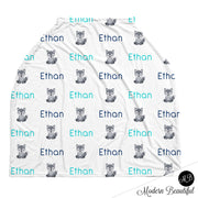 Wolf baby boy or girl car seat canopy cover, wolf baby gift, gray and aqua, custom infant car seat cover, personalized baby name carseat cover, nursing privacy cover, shopping cart cover, high chair cover (CHOOSE COLORS)