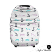 Wolf baby boy or girl car seat canopy cover, wolf baby gift, purple and aqua, custom infant car seat cover, personalized baby name carseat cover, nursing privacy cover, shopping cart cover, high chair cover (CHOOSE COLORS)