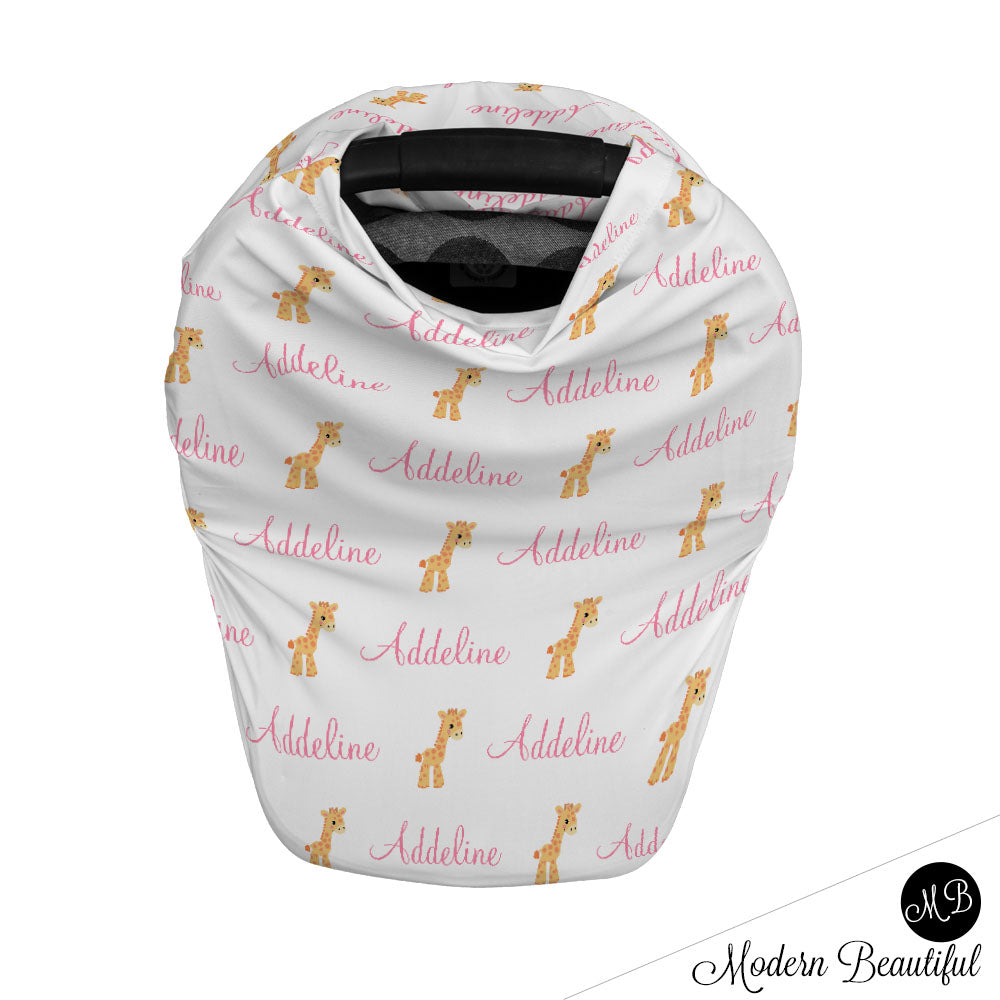 Giraffe baby boy or girl car seat canopy cover, giraffe baby gift, pink and white, custom infant car seat cover, personalized baby name carseat cover, nursing privacy cover, shopping cart cover, high chair cover (CHOOSE COLORS)
