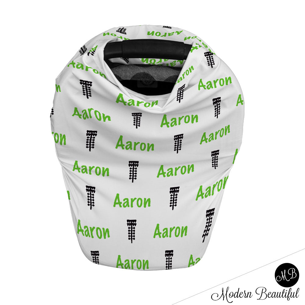 Drag racing tree baby boy or girl car seat canopy cover, racing baby gift, green and black, custom infant car seat cover, personalized baby name carseat cover, nursing privacy cover, shopping cart cover, high chair cover (CHOOSE COLORS)